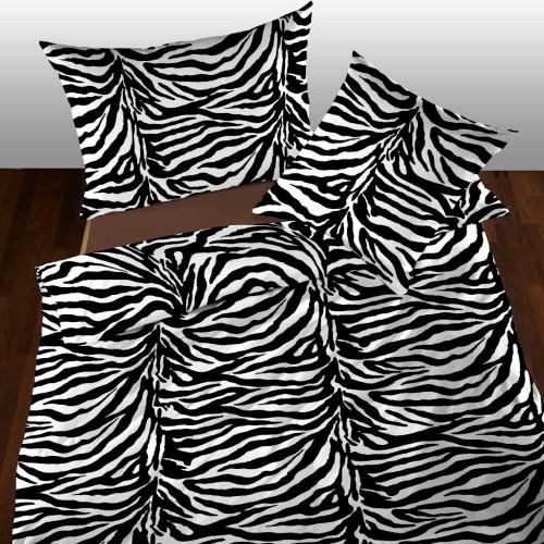 Satin Bettwäsche Zebrafell schwarz-weiss