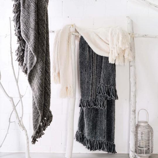 Winter Home Kunstfelldecke in Strickoptik WILD YAK grey in 130x180 cm