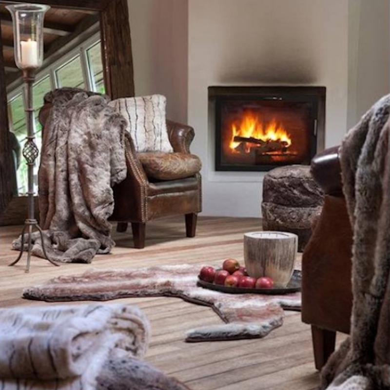 Winter Home Kissen Fellimitat KARIBU 45x45 cm und 60x60cm