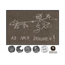 Design Fussmatte Ab nach draussen 50x75 cm