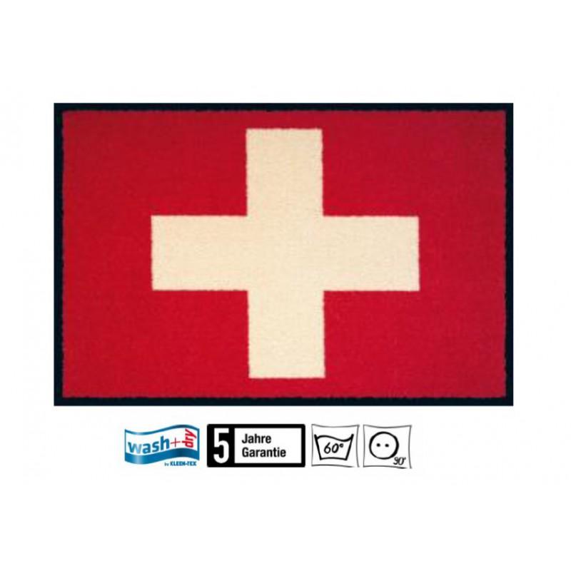 Fussmatte Schweizerkreuz Wasch+dry 50x75 cm