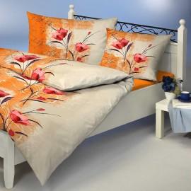 Satin Bettwäsche Printemps Beige Orange Blumen