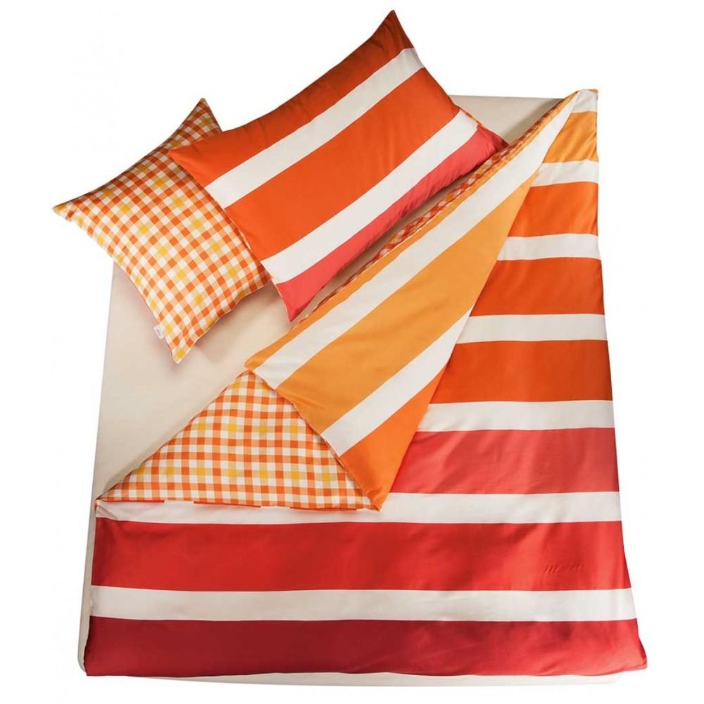 s oliver doubleface bettw sche satin orange mit streifen muster. Black Bedroom Furniture Sets. Home Design Ideas