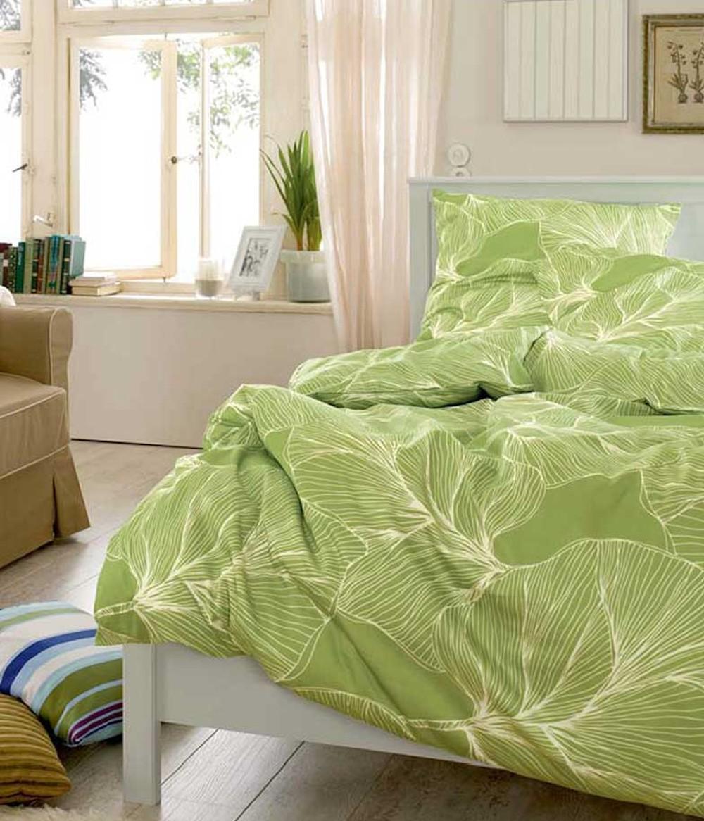 bettwäsche satin s.oliver in hellgrün mit blätter muster, Badezimmer ideen