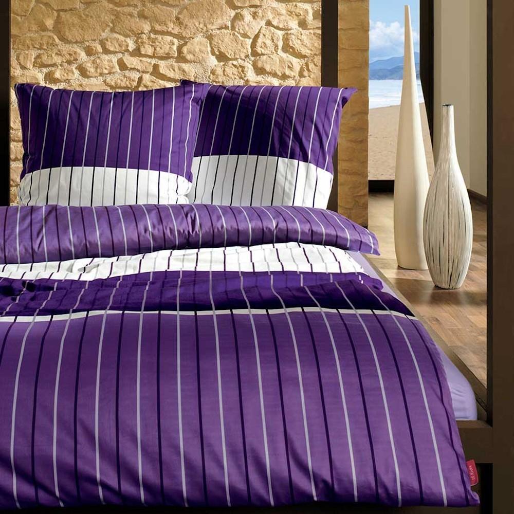 s oliver bettw sche satin violett mit streifen muster. Black Bedroom Furniture Sets. Home Design Ideas