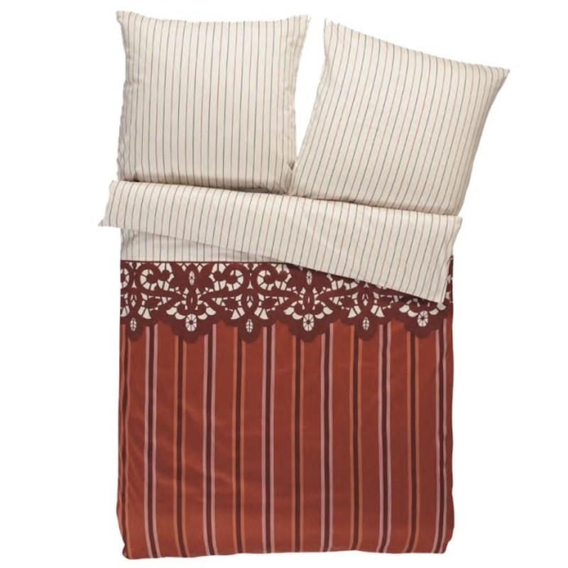s oliver landhaus bettw sche satin creme mit streifen muster. Black Bedroom Furniture Sets. Home Design Ideas
