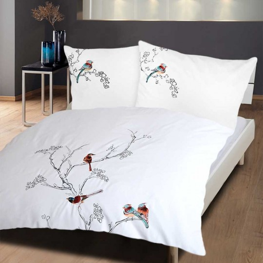 bettw sche mit stickerei birds weiss und farbig bestickt. Black Bedroom Furniture Sets. Home Design Ideas