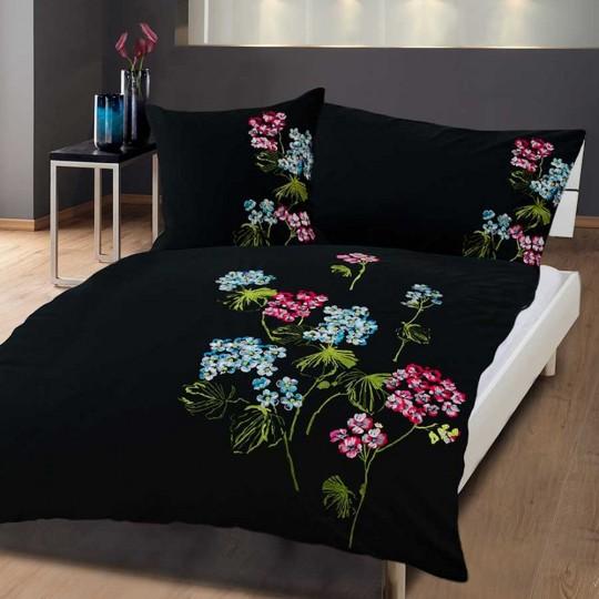 Bettwäsche Schwarz mit Stickerei Flowers