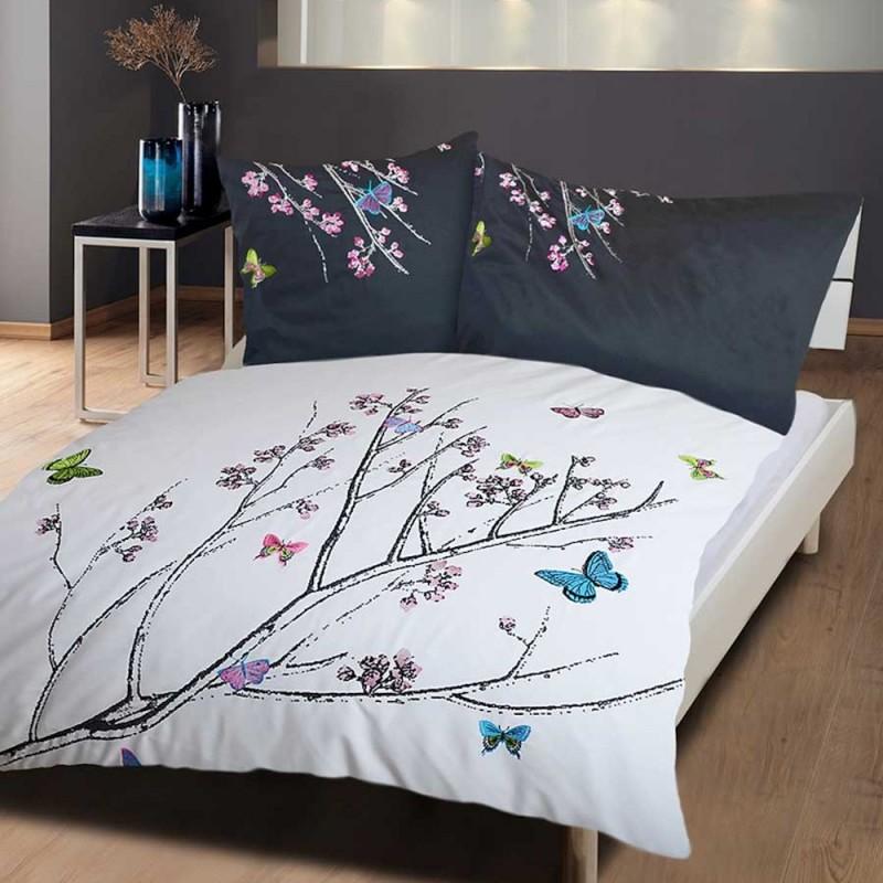Bettwäsche mit Stickerei Schmetterlinge