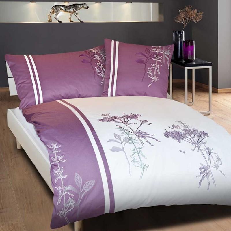 bettw sche mit stickerei sonja weiss lila mit blumen bl tter stickerei. Black Bedroom Furniture Sets. Home Design Ideas