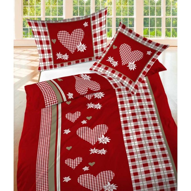 landhaus bettw sche renforc s ntis rot mit herz motiv. Black Bedroom Furniture Sets. Home Design Ideas