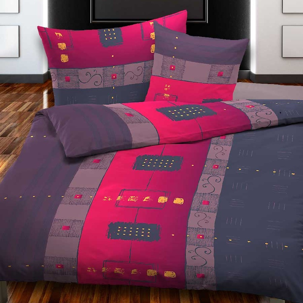 baumwolle bettw sche renforc equation aus 100 baumwolle lila rot. Black Bedroom Furniture Sets. Home Design Ideas