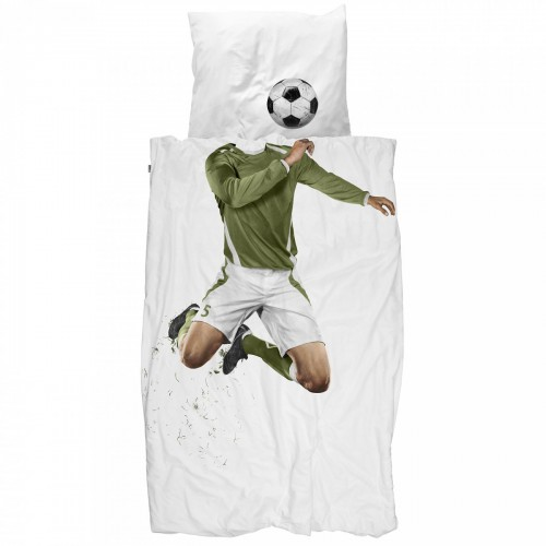 Snurk Jugendbettwäsche Fussball 160x210+65x100 cm grün