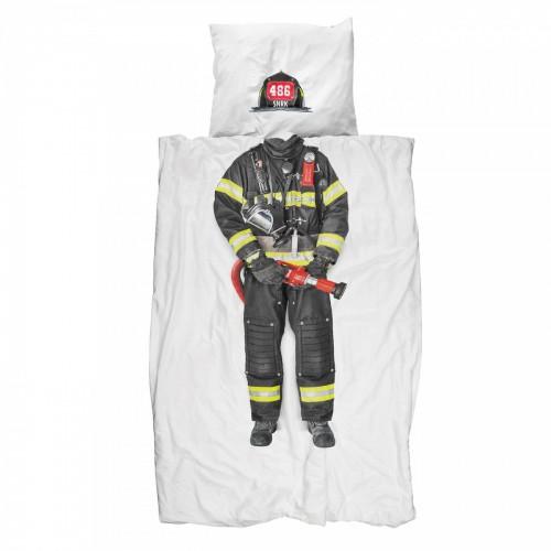 Kinderbettwäsche-Garnitur Snurk Feuerwehrmann 160x210+65x100 cm