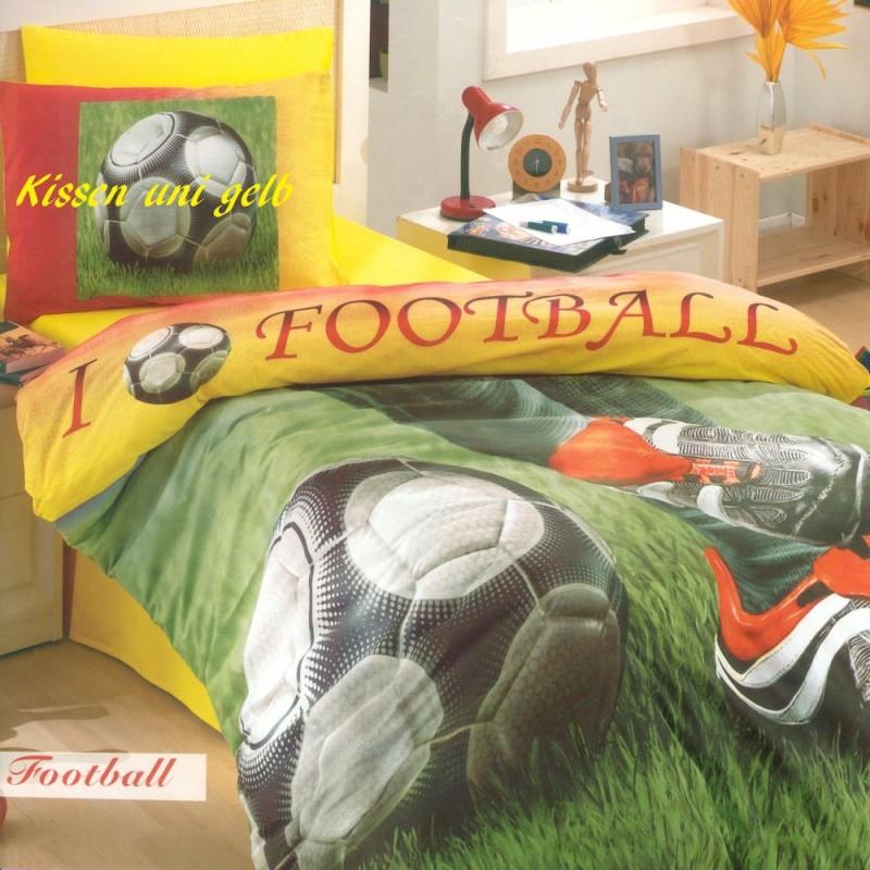 Kinderbettwasche Acolori Football 160x210 65x100 Cm Grun Gelb Mit