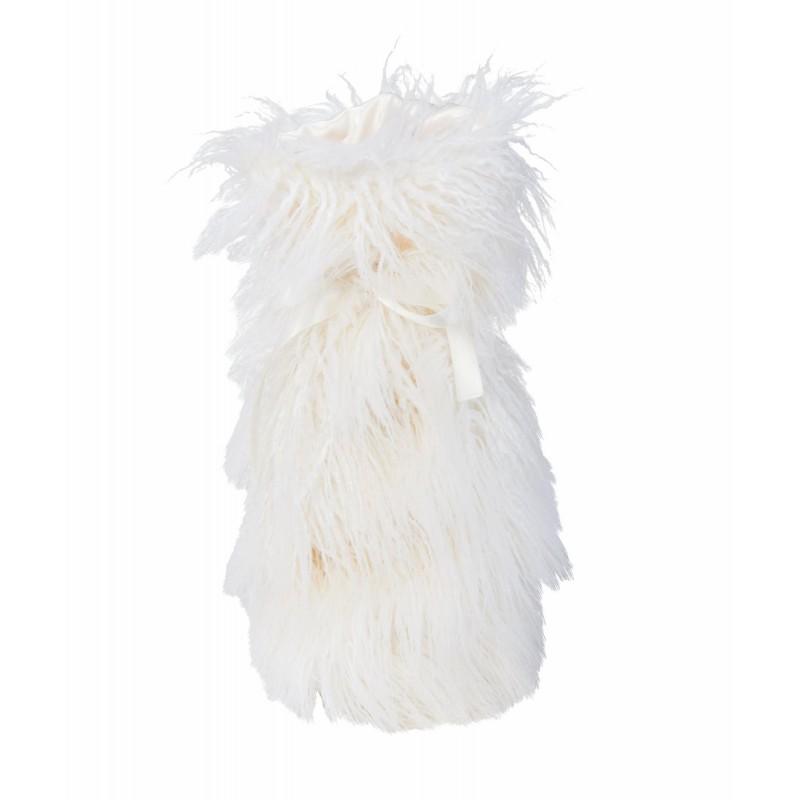 Winter Home Fellimitat Geschenk-Beutel Curlywhite 30cm weiss