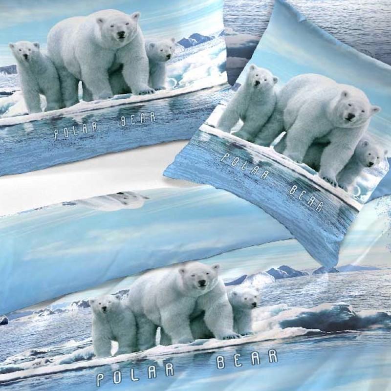 Bettwäsche Blau mit Eisbär Motiv