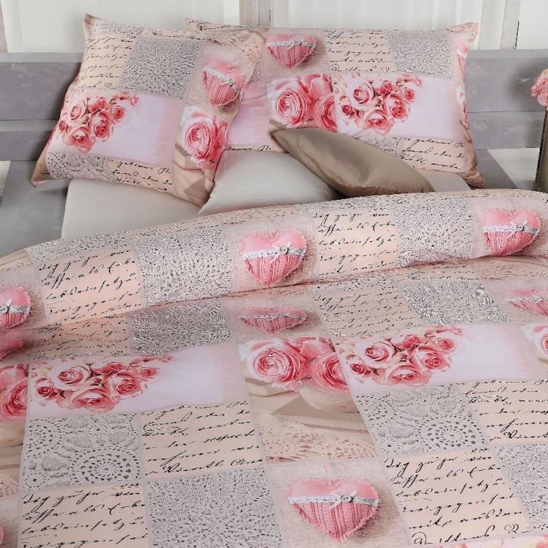 AColori Satin Bettwäsche Garnitur Rosita rosa creme farbe