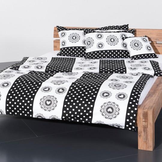 Kultstoff Landhaus Bettwäsche Tupfen schwarz