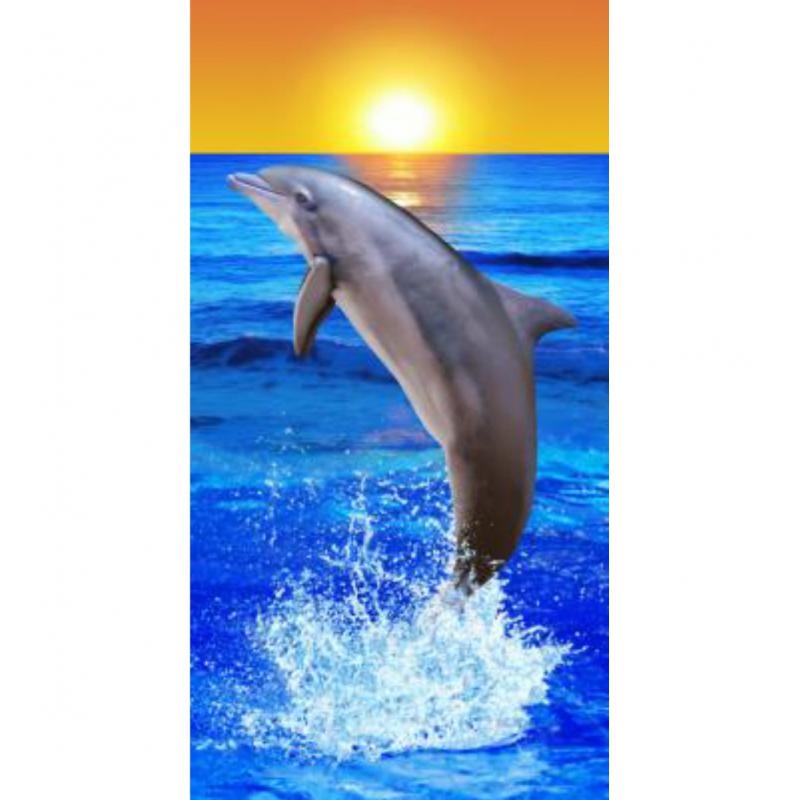 Strandtuch Mit Delfin Mit Sonne Motiv 76x152 Cm Top
