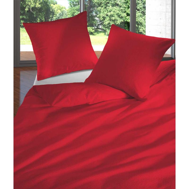 Bettwäsche Seersucker Uni rot