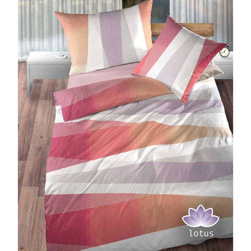 Bettwäsche Satin Ambiente Rot mit Streifen Muster