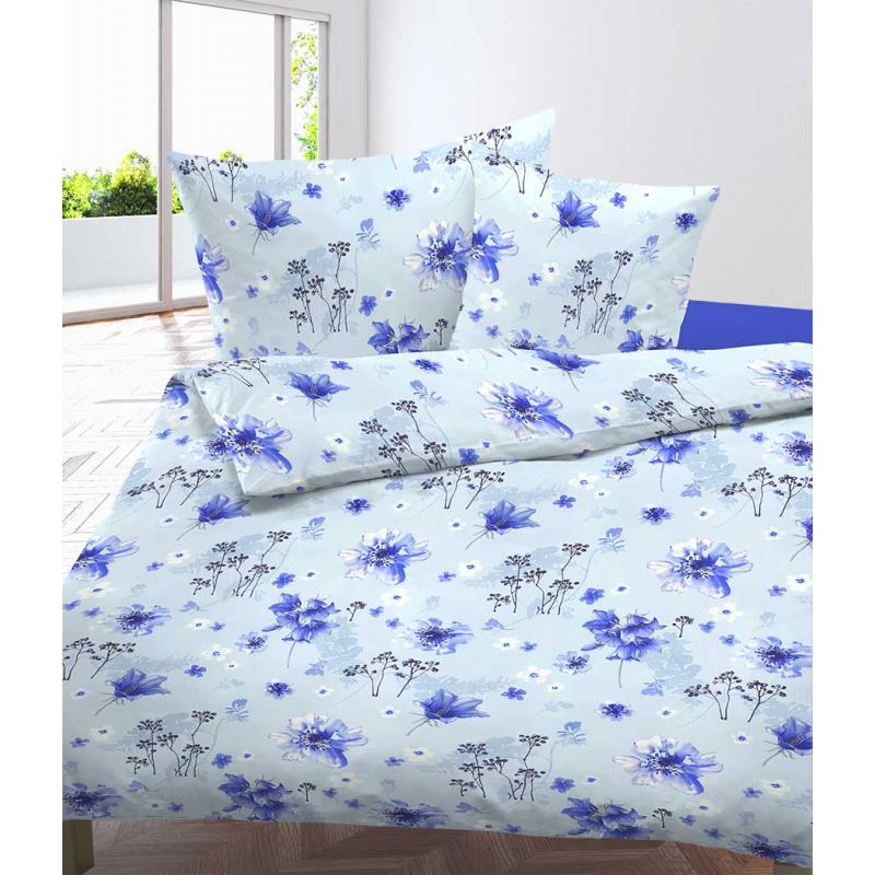 Bettwäsche Satin Liska Blau mit Blumen Muster
