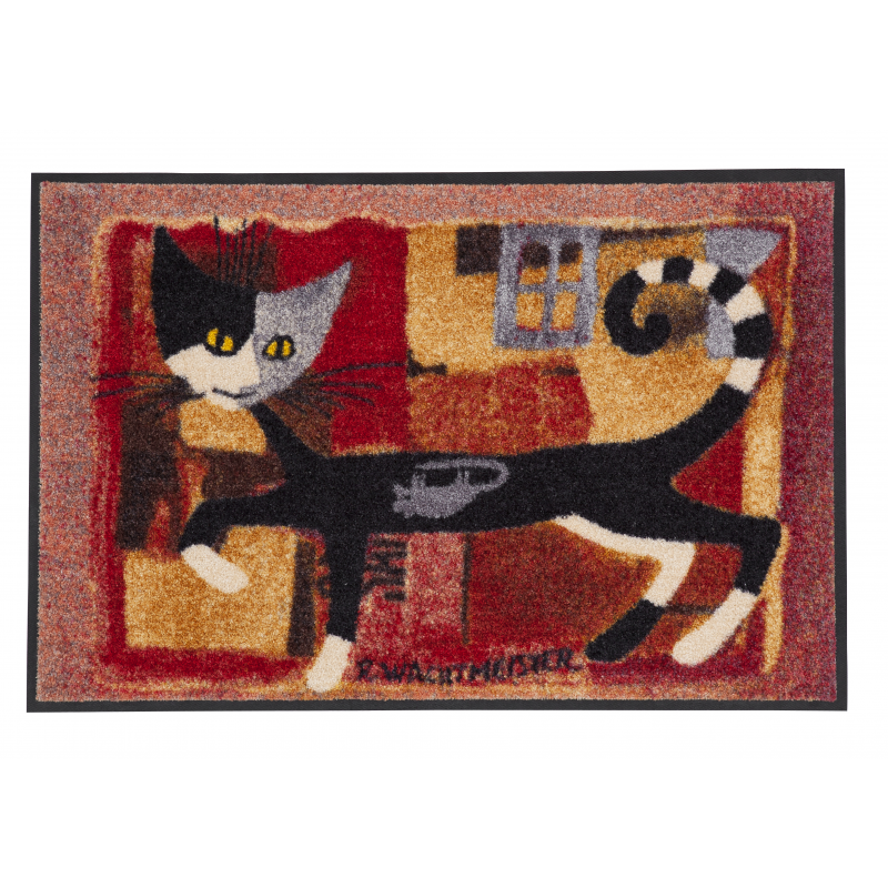 Design Fussmatte Ivanoe with Mouse 50x75 cm, rot Katze