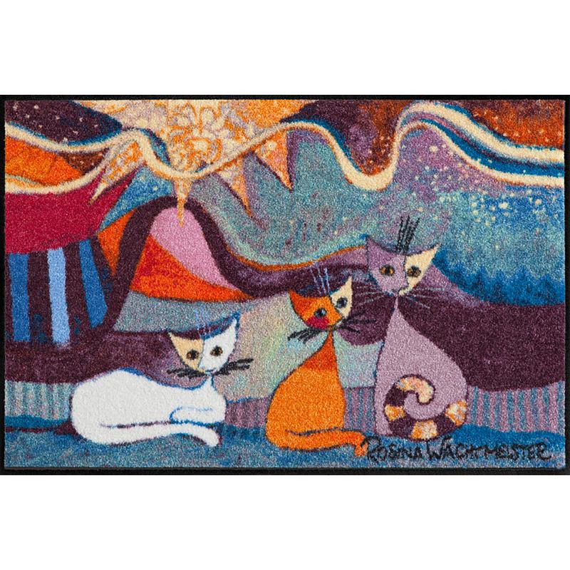 Fussmatte Le Onde 50x75 cm, bunt mit Katzen