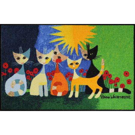 Fussmatte Una bella compagnia 50x75 cm, grau mit Blumen und Katzen