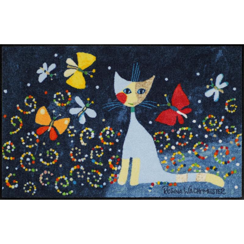 Fussmatte Danza delle farfalle 50x75 cm, schwarz mit Katzen