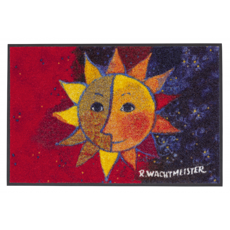 Design Fussmatte Sole 50x75 cm blau rot mit Sonne