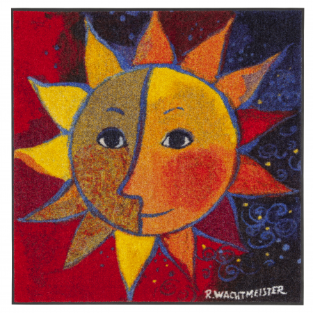 Design Fussmatte Sole 60x60 cm blau rot mit Sonne