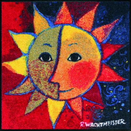 Design Fussmatte Sole 85x85 cm blau rot mit Sonne