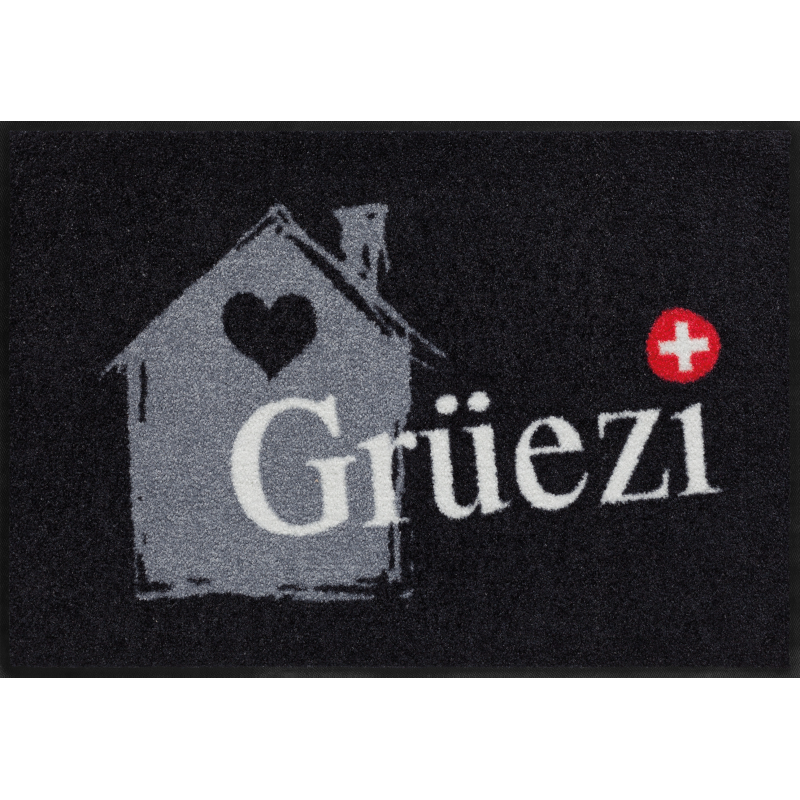 Fussmatte Grüezihaus 50x75 cm Schwarz