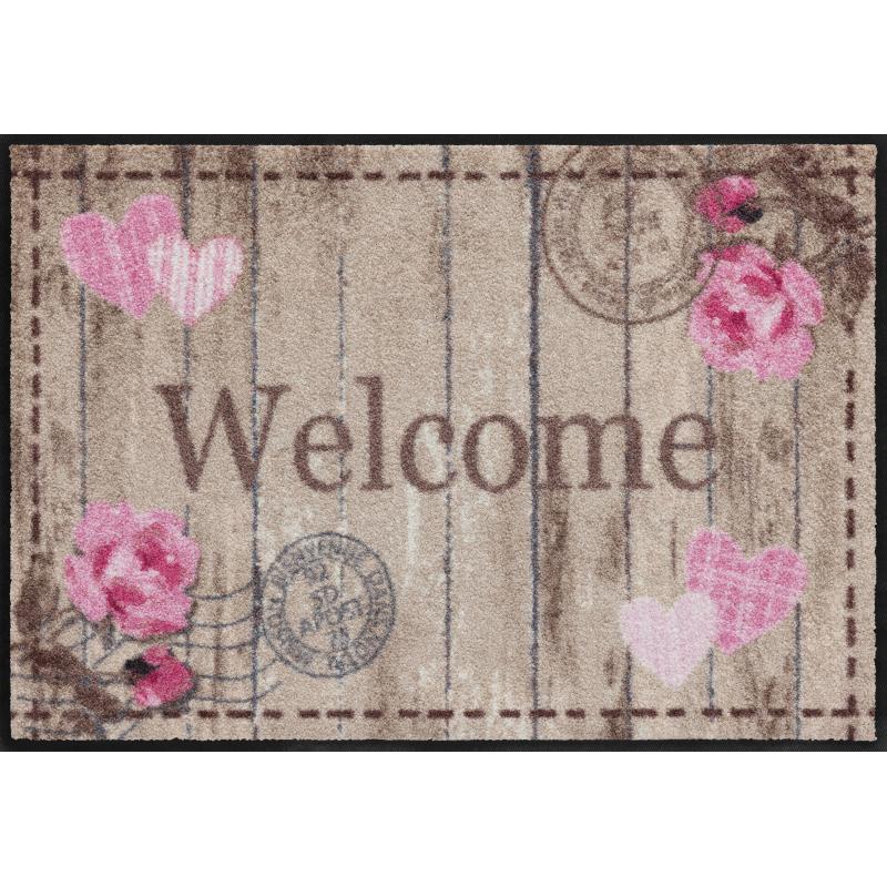 Fussmatte Welcome Roses 50x75 cm Schwarz