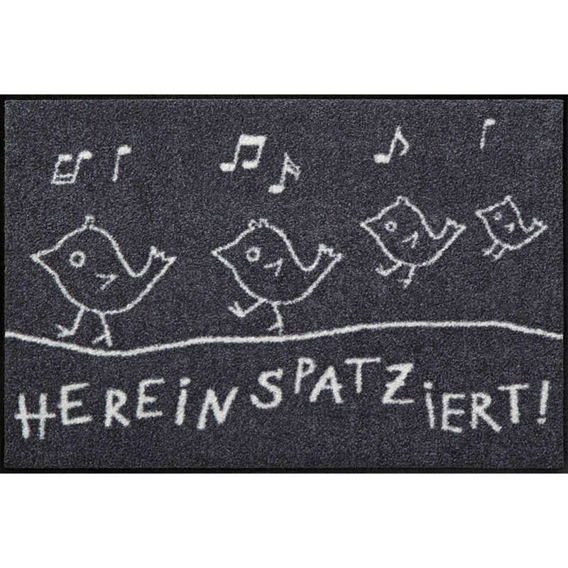 Fussmatte Hereinspaziert 50x75 cm Schwarz