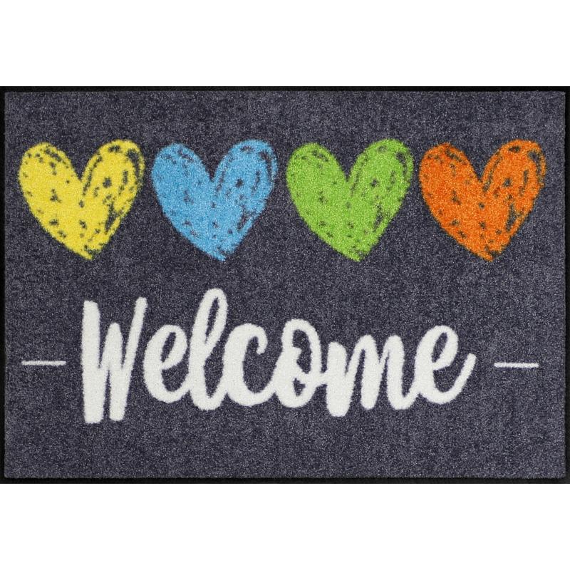 Fussmatte Heart Welcome 50x75 cm Schwarz