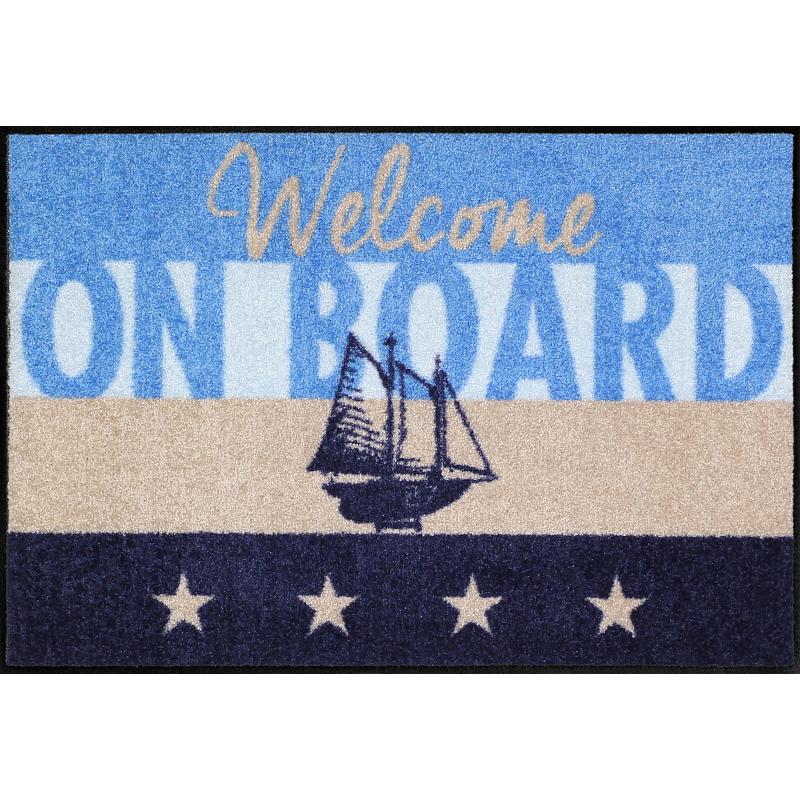 Fussmatte Wecome on Board, Blau 50x75 cm