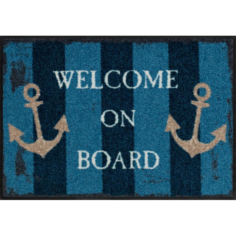 Fussmatte Welcome on Board, Blau 50x75 cm