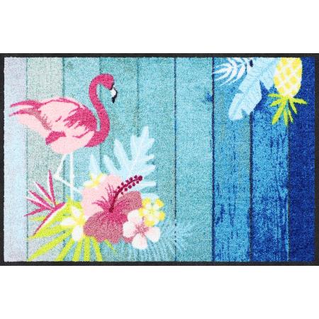Fussmatte Flamingo Beach Blau 50x75 cm